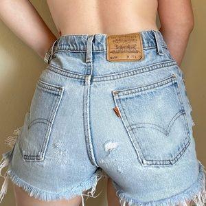 Vintage Orange Tab Levi Distressed Jean Shorts 27